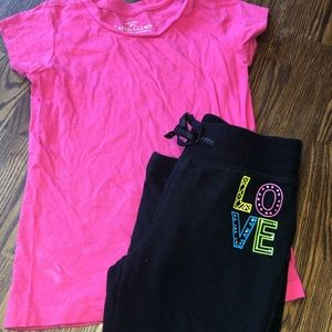 Girls pink T-shirt and black crop joggers